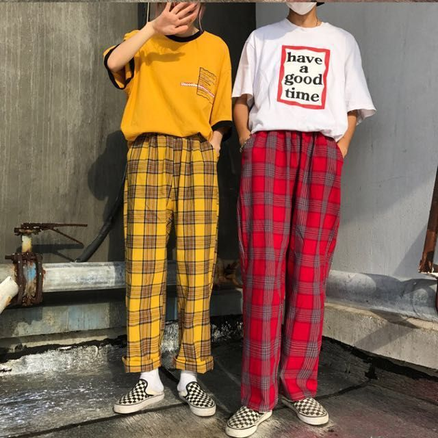 🍑🍑 INSTOCK yellow checkered pants, Women's Fashion, Clothes .