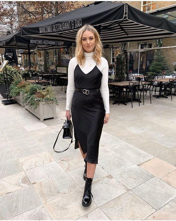 Naturseide Slip Kleid schwarz Midi Seide Cami Kleid schwarz Seide .