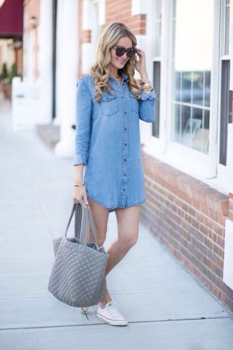 100+ How To Wear Denim Dresses Ideas 61 | White sneakers outfit .