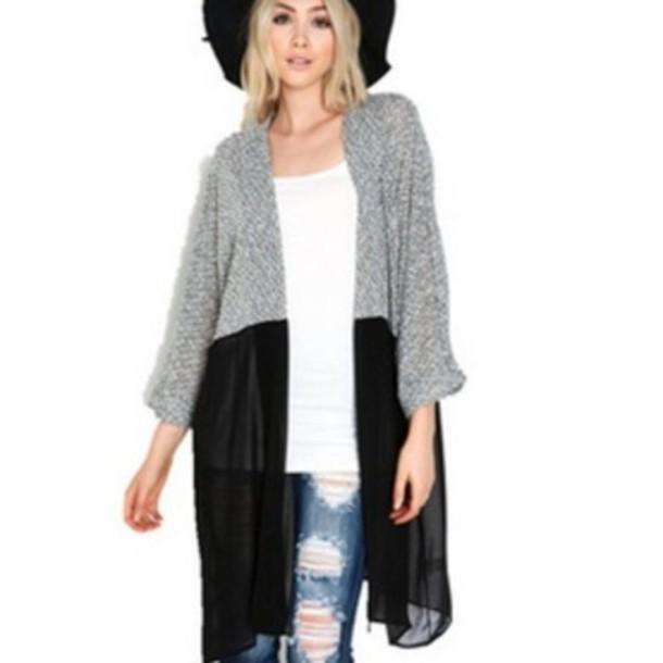 cardigan, fashion, grey, black, chiffon, chiffon cardigan, hat .