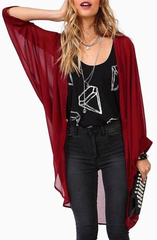 long red chiffon cardigan | Fashion, Chiffon cardigan, Cloth