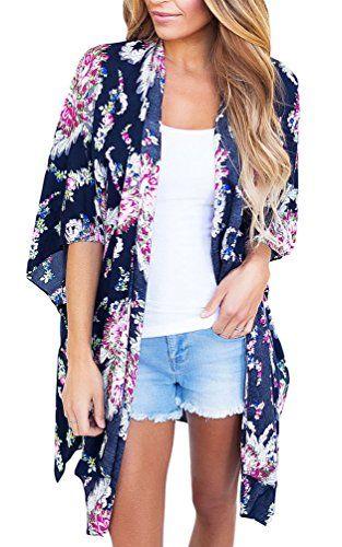 sisiyer Women's Casual Floral Print Chiffon Kimono Cardigan Blouse .