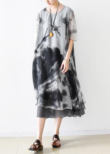Italian gray print chiffon clothes For Women plus size Fashion .