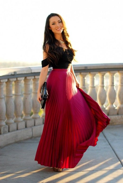 Beautiful Long Cherry Red Pleated Skirt-Gorgeous Outfit Ideas .