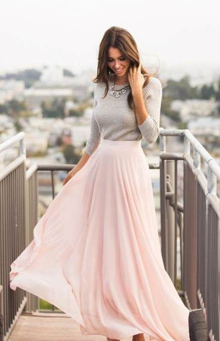31+ new ideas skirt chiffon outfit pink maxi #skirt | Pink maxi .