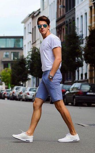 simple and smart chino shorts outfit #MensFashionShorts | Mens .