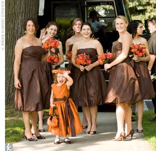 Wedding Plans/Ideas | Brown wedding dress, Brown bridesmaid .