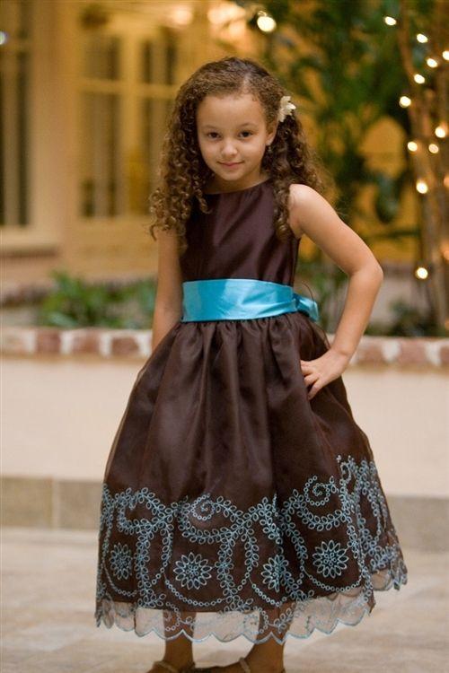 wedding ideas | Brown flower girl dress, Brown bridesmaid dresses .