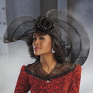 Church Hats for Black Women | Women's Onyx Black Church Hat Ashro .