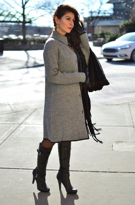 Valentine's day outfit idea - Cocoon coat + faux-leather dress .