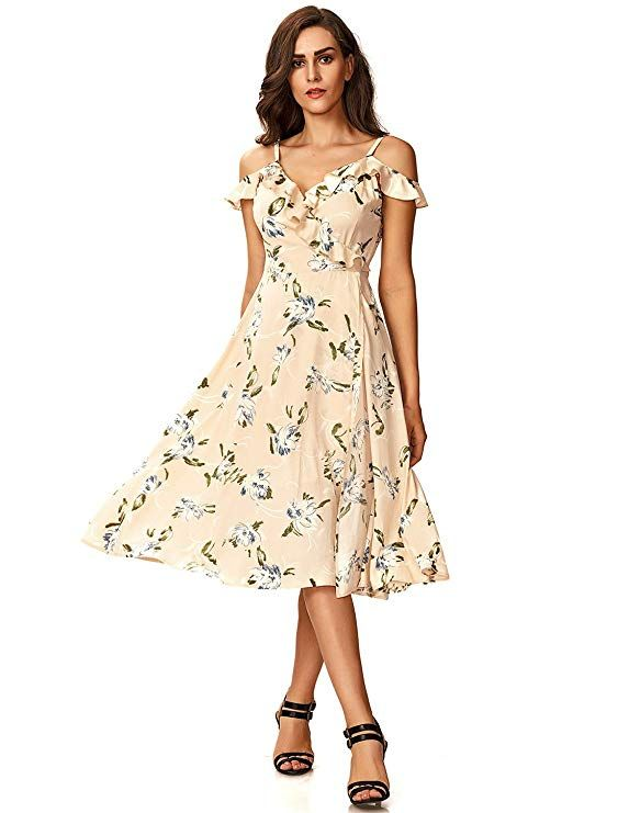 Noctflos Women's Floral Chiffon Summer Cold Shoulder Cocktail .
