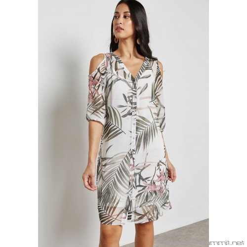 Wallis Palm Print Cold Shoulder Shirt Dress WA854AT96IWH .