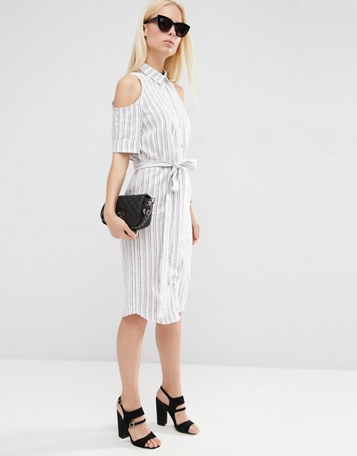 ASOS Cold Shoulder Shirt Dress With Tie in Stripe | AS