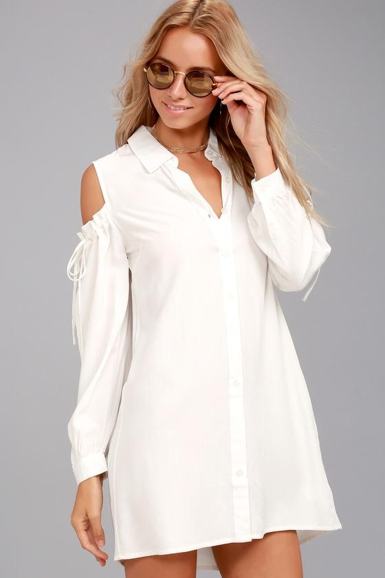 Chic White Shirt Dress - Cold-Shoulder Dre