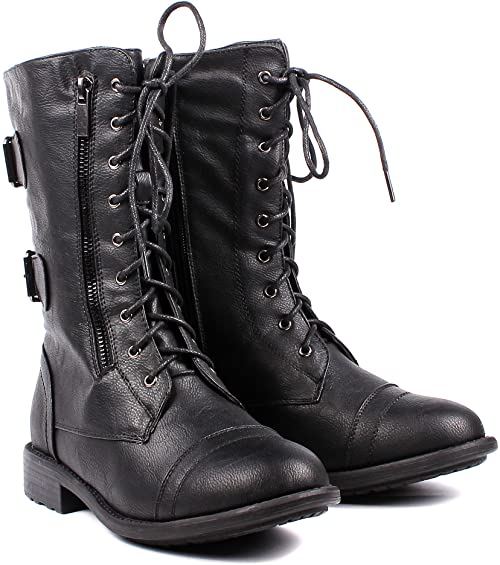 Amazon.com | Fashion Buckle Lace up Womens Combat Military Boots .
