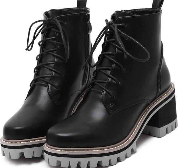 Black Leather Lace Up High Top Chunky Sole Punk Rock Military .