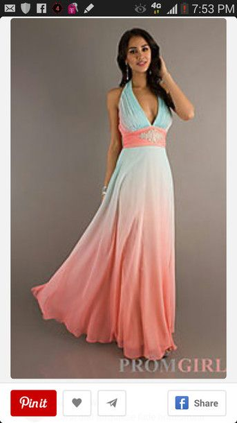Halter Evening Gown, Betsy and Adam Long Ombre Dresses- PromGirl .