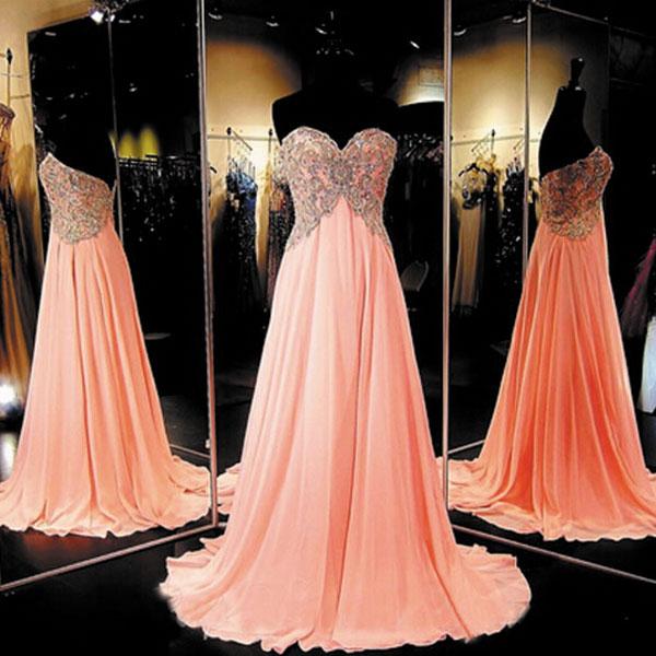 Long Chiffon Coral Prom Dress Elegant Prom Dresses Elegant Prom .