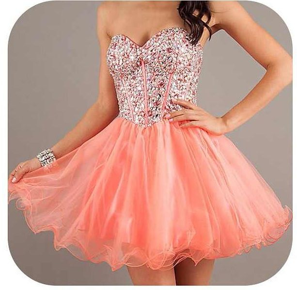 badazzled pink coral, short dress (prom) | Coral prom dress, Prom .