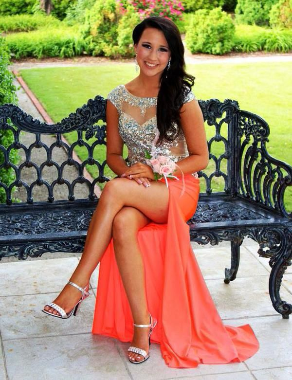 Simple Prom Dresses,Coral Prom Dress,Beading Prom Gown,Slit Prom .