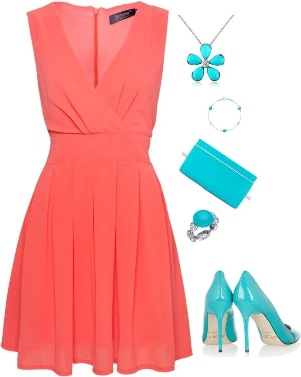 Coral with Turquoise Accessories | Fashion, Dresses, Coral dre