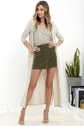White Crow Austin Olive Green Corduroy Mini Skirt | Green skirt .