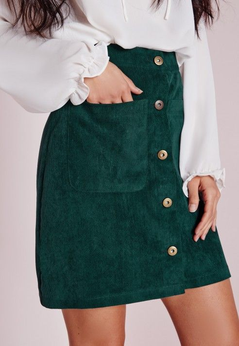 Forest green corduroy skirt with a silk blouse is a great .