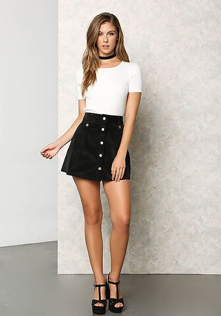 Black Corduroy Button A-Line Mini Skirt | A line skirt outfits .