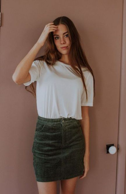 Skirt Corduroy Outfit Fall Casual 24 New Ideas #skirt | Green .