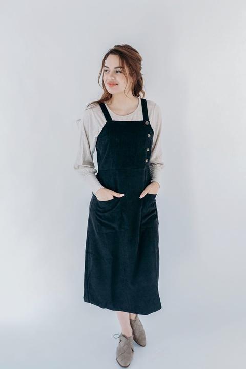 Samantha' Corduroy Jumper in Black (With images) | Corduroy dress .