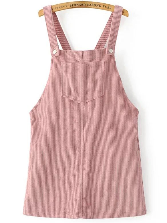Shop Pink Corduroy Overall Dress With Pocket online. SheIn offers .