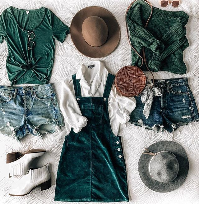 fall outfit ideas, corduroy overall dress, distressed denim shorts .