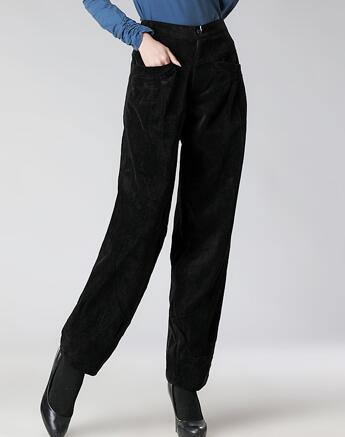 Corduroy pants for women plus size high waist loose casual harem .