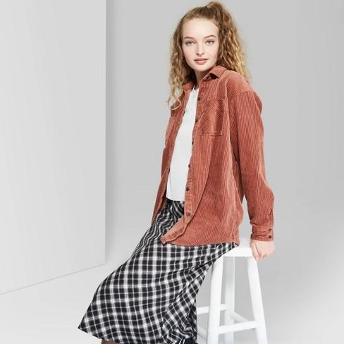 Women's Long Sleeve Oversized Button-Down Corduroy Shirt - Wild .