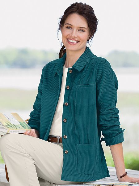 Wide Wale Corduroy Shirt Jacket | Women's Jacket | Applesee