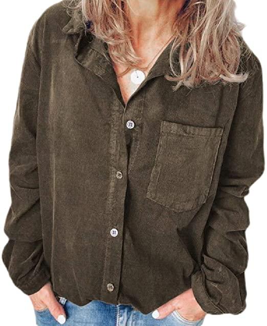 Women's Corduroy Shirt Long Sleeve Button Down Blouse Shirt with .