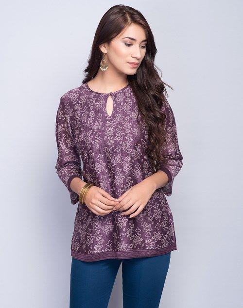 Silk Cotton Printed Pintuck Short Kurta | Short kurti designs .