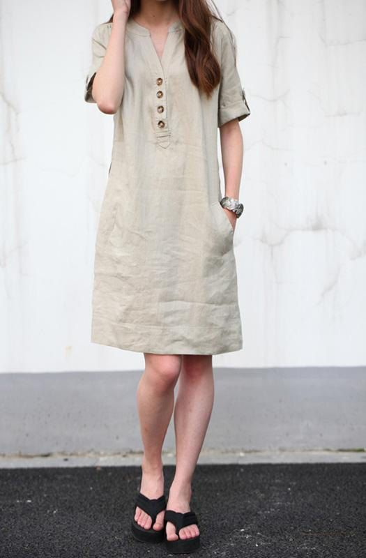 Khaki linen dress maxi dress cotton dress casual loose cotton .