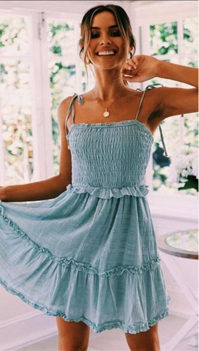 VIOLET ruffle short dress | Ruffled short dresses, Casual summer .