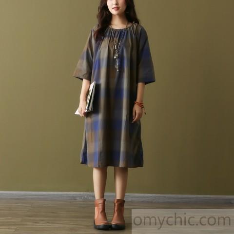 Style o neck tie waist Cotton tunic top Fashion Ideas blue Plaid .