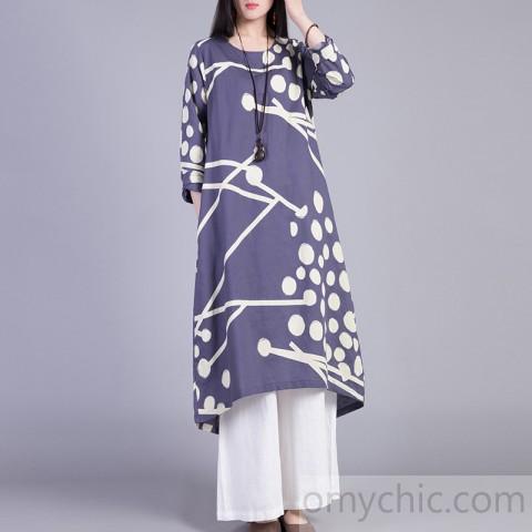 DIY long sleeve cotton Tunic Fashion Ideas blue prints o neck .
