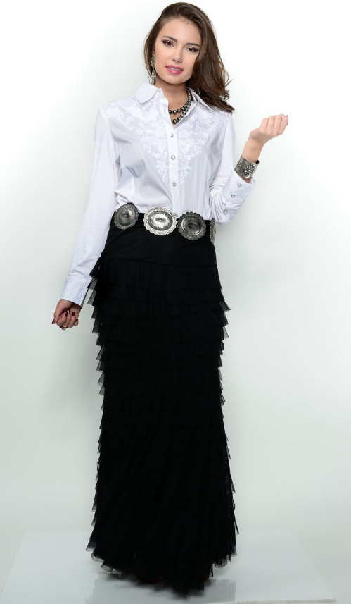 Cowgirl Elegant, white blouse, black skirt, western belt | Cowgirl .