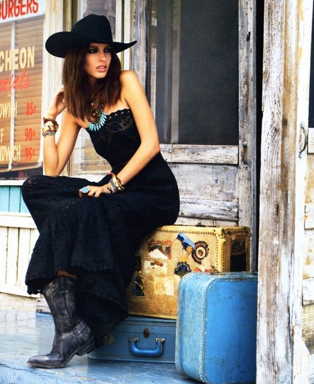 country glam!!!! cowboy hat and boots with black lace maxi dress .