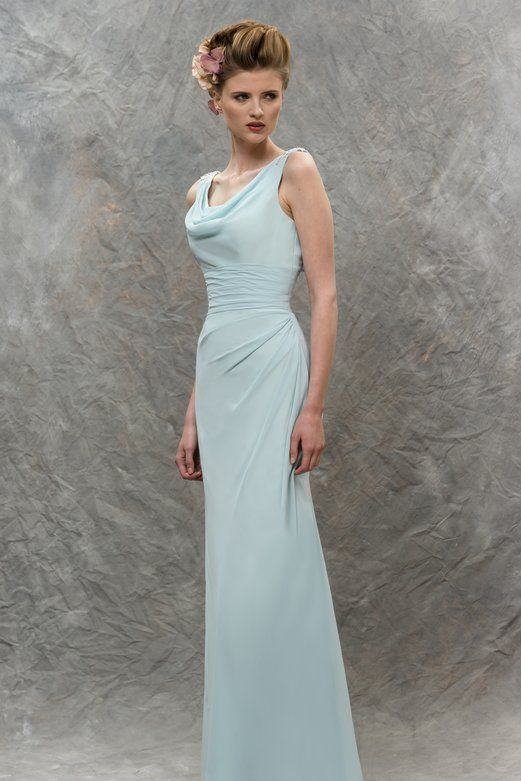 Chic Cowl Neck Lace Appliqued Sheath Cloud Blue Chiffon Long .