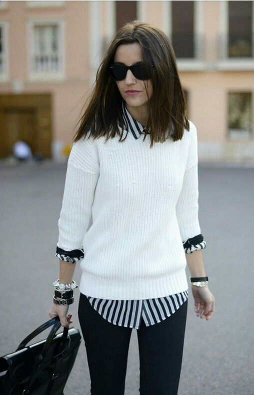 White crewneck sweater + striped button-down shirt. | Cute preppy .