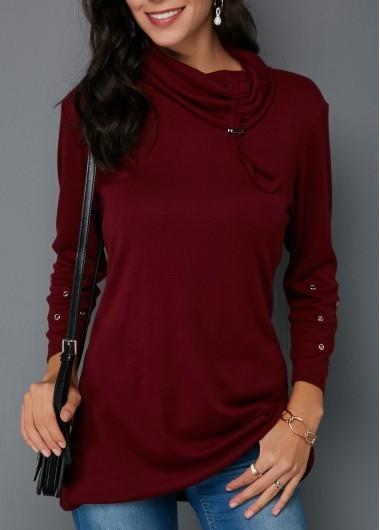 Long Sleeve Button Detail Cowl Neck Sweatshirt | Cowl neck .