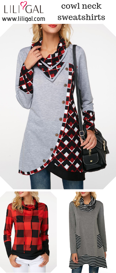 Shop cute tops for fall, cowl neck sweatshirts for women. #liligal .