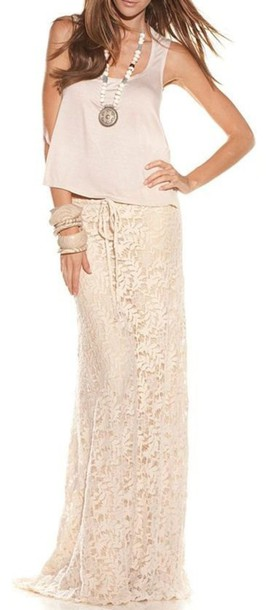 skirt, boho, boho chic, lace skirt, crochet, cream, maxi skirt .