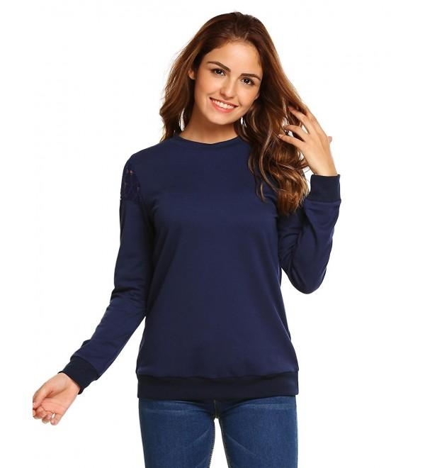 Women Casual Long Sleeve Lightweight Plain Crewneck Sweatshirt .