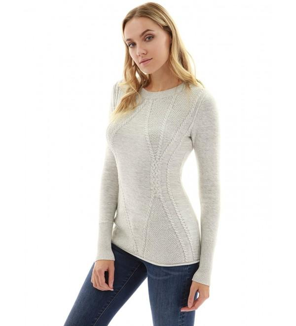 Women's Cotton Blend Crewneck Cable Knit Sweater - Heather Light .